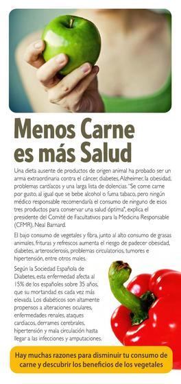 Folleto acerca de los beneficios para la salud de una alimentación sin carne. Versión española.