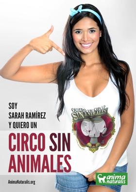 La modelo colombiana Sarah Ramírez se une a AnimaNaturalis y también dice ¡Yo quiero un circo sin animales!