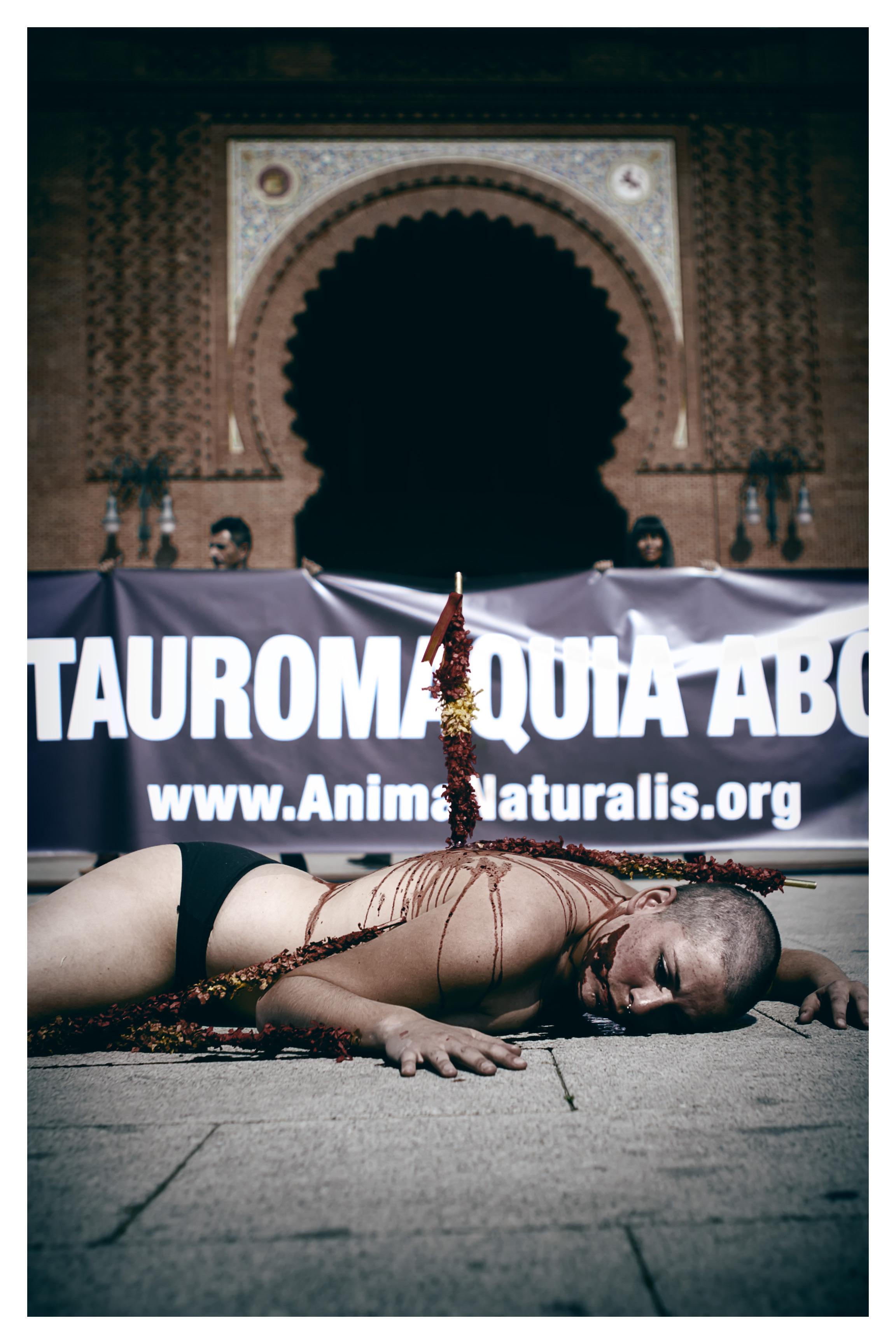 AnimaNaturalis en Madrid contra las visitas escolares a 'Las Ventas'