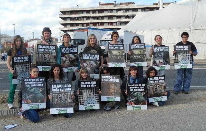 AnimaNaturalis protestó frente al Circo Americano, en Tortosa