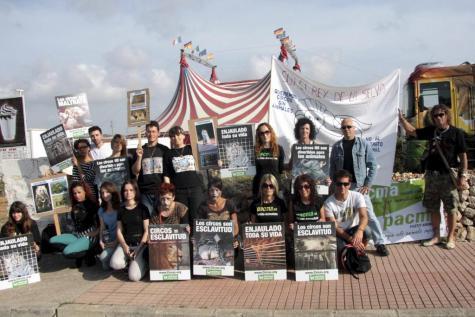 Grupo de acción de AnimaNaturalis en Menorca protesta a las puertas del Circo Roma