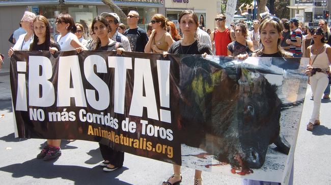 AnimaNaturalis se manifesta en Alicante por unas 'Hogueras' sin sangre junto a Alicante Animalista