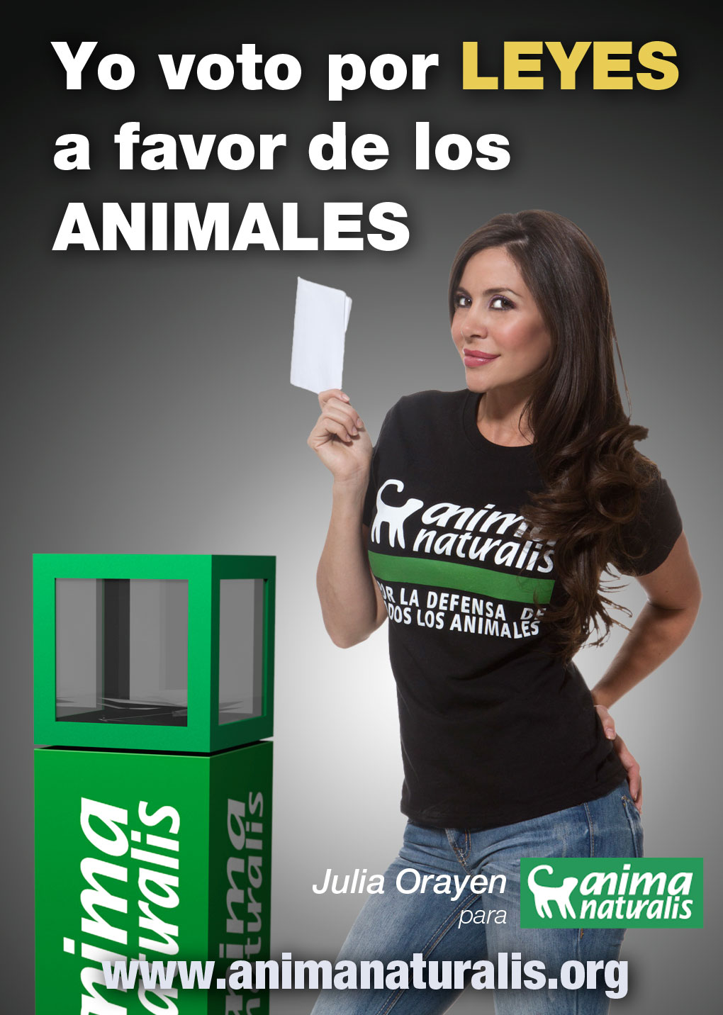 ¡Julia Orayen y AnimaNaturalis te invitan a votar a favor de los animales!