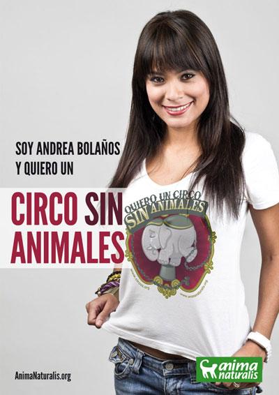 Andrea Bolaños se adhiere a la campaña Circo Sin Animales