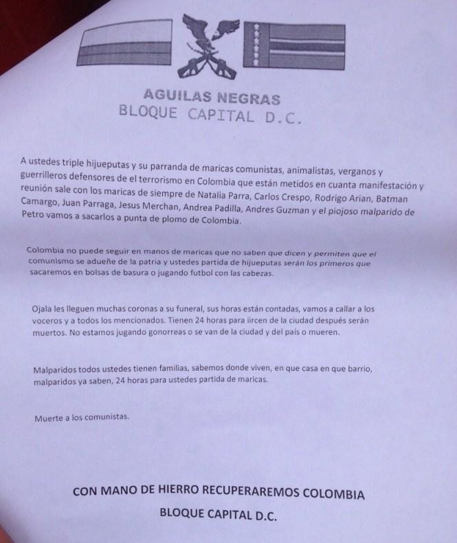 Comunicado a la opinión pública sobre amenazas de muerte a líderes animalistas colombianos