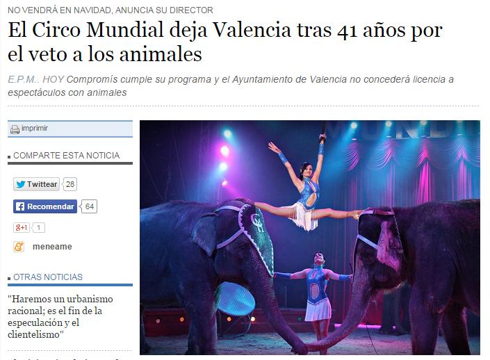El Circo Mundial deja Valencia tras 41 años por  el veto a los animales