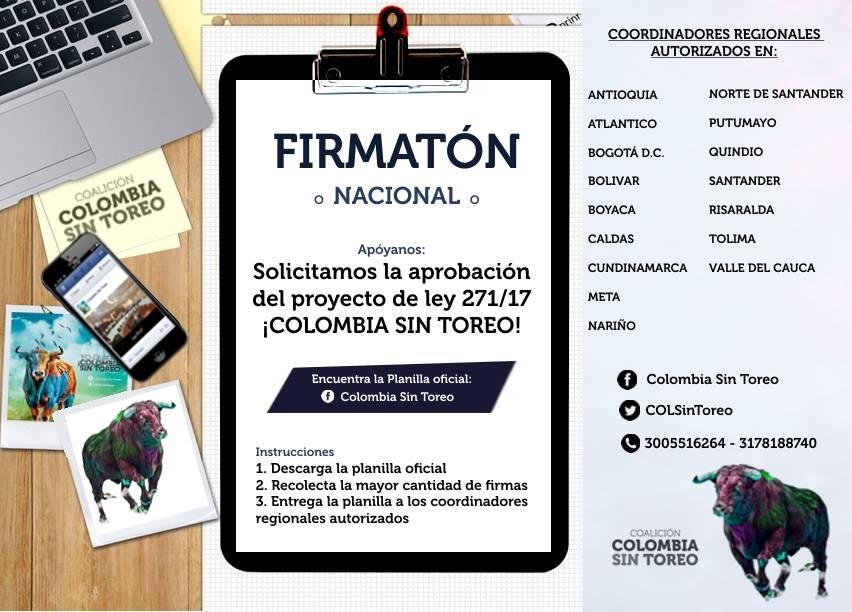 Actúa: ¡Firmatón nacional por una Colombia Sin Toreo!