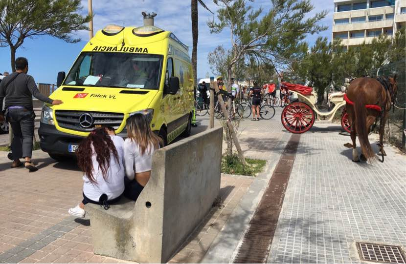 Heridos el dueño de una galera y su caballo tras chocar contra una furgoneta en Playa de Palma