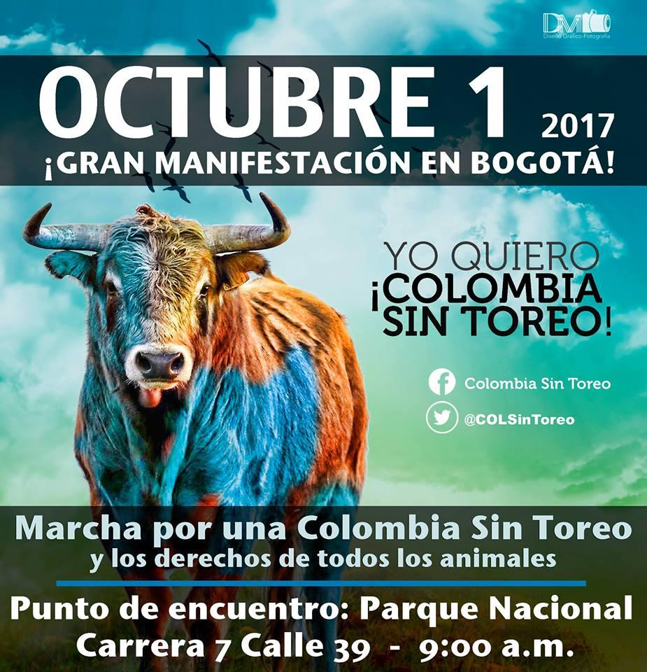 Este domingo Bogotá marchará por los animales y por la ley Colombia Sin Toreo