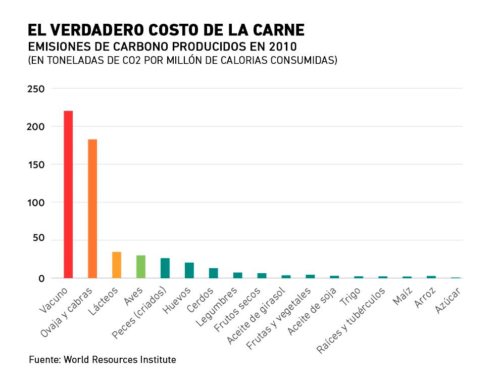 El verdadero costo de la carne: emisiones de carbono por alimentos