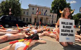 50 activistas se ponen en la piel del toro en Londres