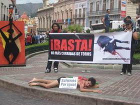 Exitosas protestas contra la tauromaquia en Festival Cervantino