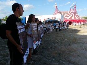 Represión en el acto contra el circo Roma en S´Arenal, Mallorca