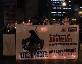Animalistas encendieron velas por la abolición de las corridas de toros