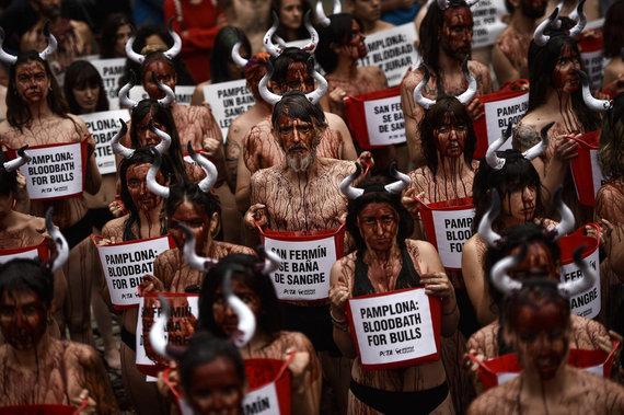 AnimaNaturalis baña de sangre las calles de Pamplona