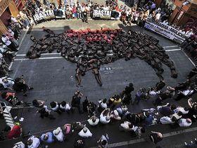 Exitosa manifestación de AnimaNaturalis en Pamplona