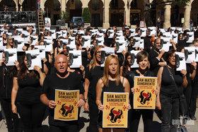 Más de 300 activistas le plantan cara a la tauromaquia en Logroño
