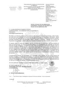Respuesta de PROFEPA Michoacán a nuestra solicitud sobre circo con animales
