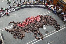 Exitoso acto contra la crueldad de los Sanfermines en Pamplona